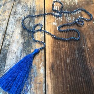 Jewelry - 🔴Royal Blue Tassel Crystal Beaded Necklace
